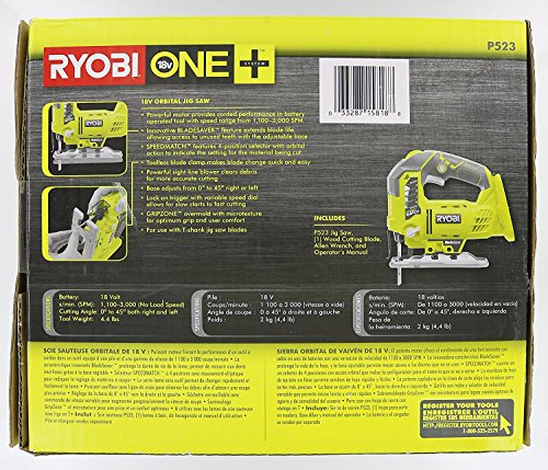 Product Image 7: Ryobi One+ P523 18V Lithium Ion Cordless Orbital T Shank 3,000 SPM Jigsaw (Battery Not Included, Power Tool and T Shank Wood Cutting Blade Only)