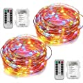 2 Set Led Fairy Lights Battery Operated String Lights with Remote Timer Copper Wire 8 Modes 5M 50 LED Starry String Lights for DIY Project Festival Party Girl Bedroom Christmas Decoration-Multi Colour