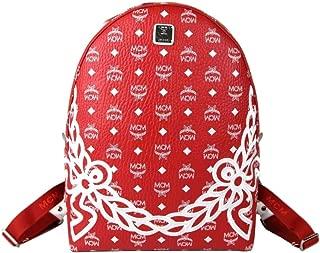 MCM Red White Dietrich Laurel Monogram Medium Visetos Backpack MMK8SDI05RV001