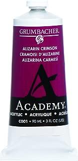 Grumbacher Academy Acrylic Paint, 90ml/3 oz Metal Tube, Alizarin Crimson