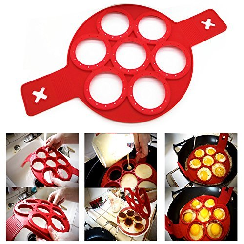 Itian Pancake Stampo in Silicone Antiaderente, Senza BPA e Approvato Dalla FDA - 7 Circle(Rosso)