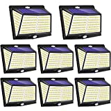 Solar Lights Outdoor 228LED, YZAA Solar Motion Sensor Lights 3 Modes Solar Security Lights with 270° Wide Angle Wireless IP56 Waterproof Outdoor Lights for Garden Patio Fence Pathway (8 Pack)