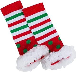 VALICLUD, VALICLUD Navidad Bebé Calentador de Piernas Vacaciones Niño a Rayas Punto Calcetines de Algodón Cálido Acogedor Suave Cubierta de Calcetín Accesorios de Disfraz de Elfo