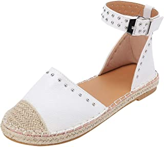JJLIKER Women Fashion Studs Flat Sandals Closed Toe Ankle Buckle Strap Shoes Classic Comfort Espadrille Loafers