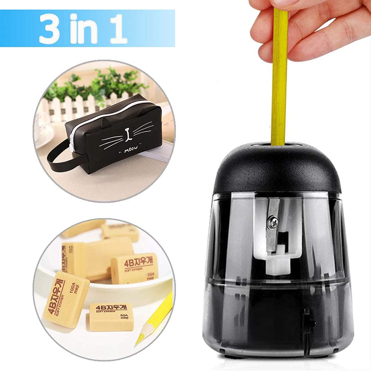 Electric Pencil Sharpener,(6.5-8mm)3 in 1 Pencil Sharpener + Pen Bag + Eraser, Battery Operated Mini Pencil Sharpener For Kids Office Classroom