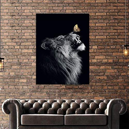 cuadros decoracion salon Lienzo impreso HD pintura tigre y mariposa amarilla bonito cartel artístico pared imágenes decoración del hogar para sala estar regalo Pascua dia del padre regalos 20x