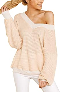 COCOLEGGINGS Women's V-Neck Lantern Long Sleeve Off The Shoulder Tops Waffle Knit Shirt - Off-White - Large