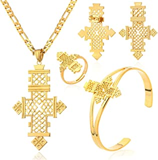 Ethiopian Cross Jewelry Sets Gold Color Wedding Party Sets for Ethiopian & Eritrean Women