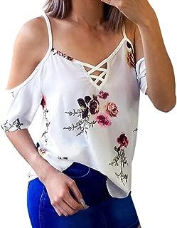 Women Ladies Floral Off Shoulder T-Shirt Short Sleeve Casual Tops Blouse