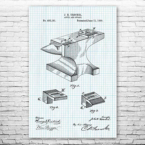 Patent Earth Blacksmith Anvil Poster Print, Blacksmith Gift, Metal Working Art, Iron Worker, Jeweler Gifts, Shop Teacher, Silversmith
