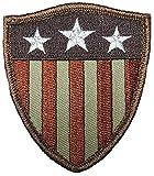 Captain America Shield Stars Stripes USA Flag Patch ['Velcro Brand' Fastener - 3.0 X 2.5 inch]