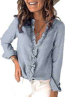 S-Fly Womens Loose Ruffle V Neck Polka Dot Fashion Long Sleeve Shirts
