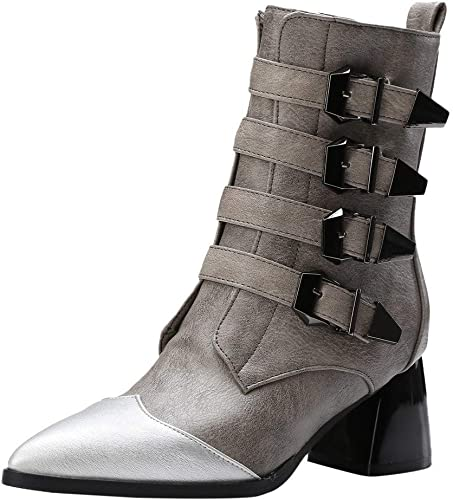 ZHRUI Hausschuhe para damen Stiefel de Interior para Hausschuhe, Moda Hebilla de cinturón de Cuero schuhe de tacón Grueso Punta Puntiaguda Stiefel Martin, (Farbe   grau, tamaño   5.5 UK)