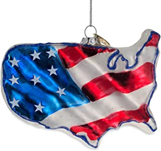 BestPysanky United States Flag Glass Christmas Ornament 3 Inches