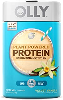 OLLY Plant Powered Protein, Protein Powder, 13 oz (12 Servings), Velvet Vanilla, 18g Plant Protein, Vegan