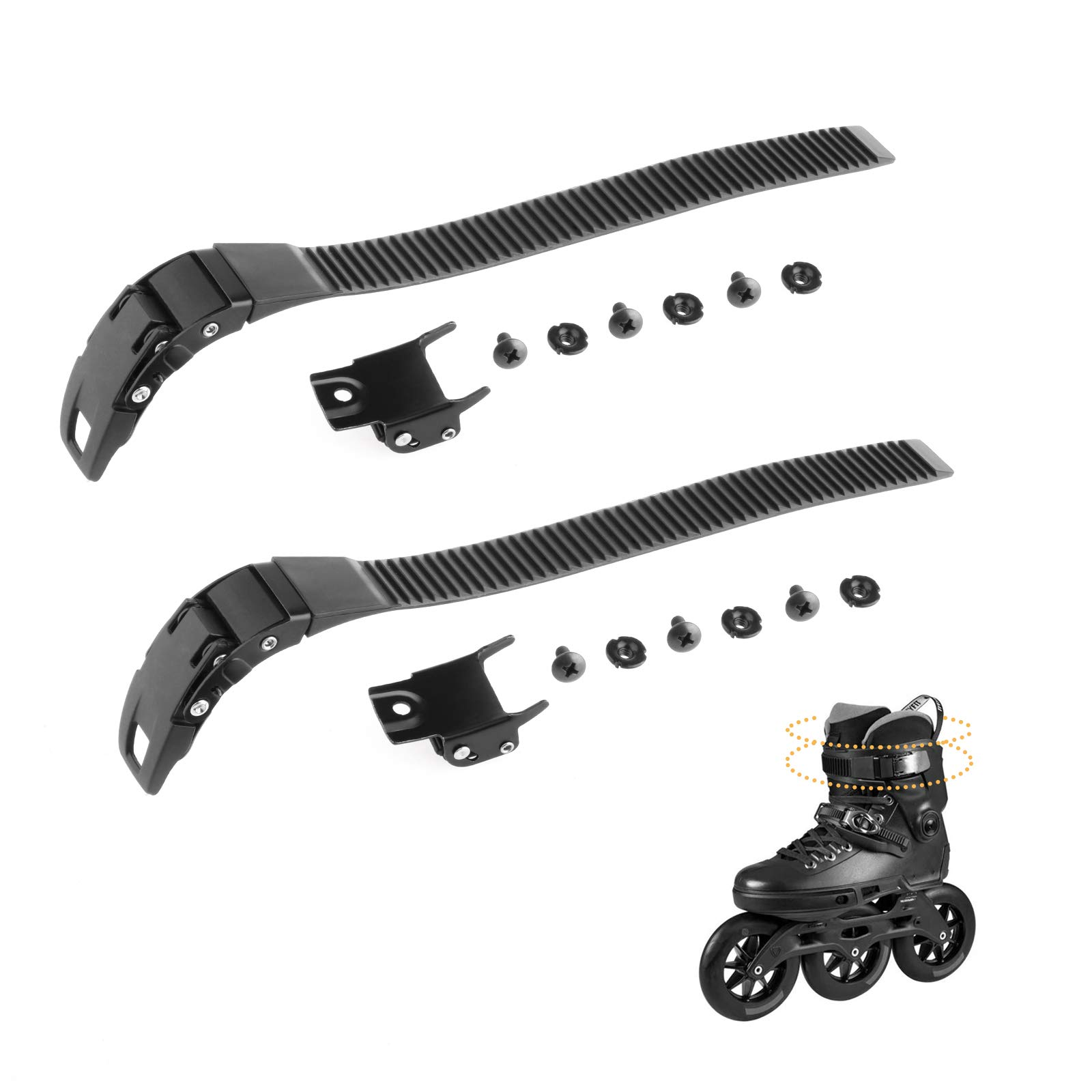 LIOOBO 2 Set Replacements Inline Roller Skating Shoes Strap with Screws Nuts Skates Buckles Accessory