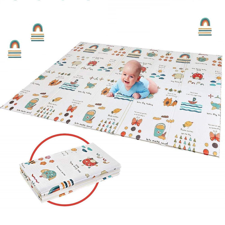 折り畳み式ベビープレイマット 子供のゲームパッド 育児 フロアマット 形状記憶 自宅 & 外遊び 滑り止め 防水 防音 衝撃吸収 プレゼントに大人気