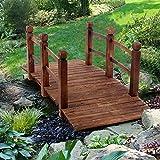 INFILM 5 ft Garden Bridge with Safety Rails,...