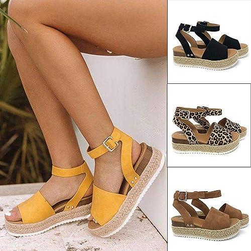 Voiks Sandales pour Adolescentes Filles Femmes Poisson Bouche Bouche Plateforme Printemps été Plage Talons Hauts Sandales Chaussures Plates, Jaune, 38  soutenir le commerce de gros