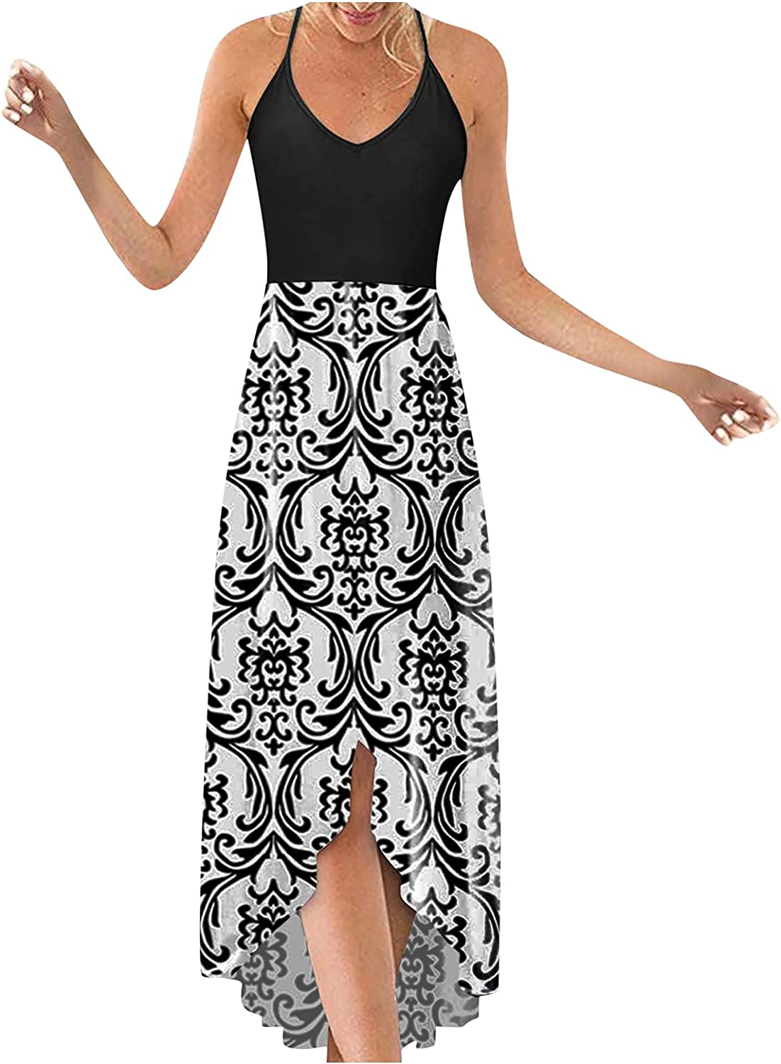 Aniwood Summer Dresses for Women,Women's Casual Deep V Strappy Floral Print Oversize Maxi Dresses Beach Cami Long Dress