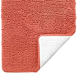 Gorilla Grip Original Luxury Chenille Bathroom Rug Mat, 17x24, Extra Soft and Absorbent Shaggy Rugs, Machine Wash Dry, Perfect Plush Carpet Mats for Tub, Shower, and Bath Room, Coral