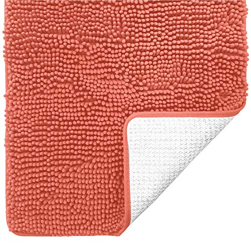 Gorilla Grip Original Luxury Chenille Bathroom Rug Mat, 44x26, Extra Soft and Absorbent Large Shaggy Rugs, Machine Wash Dry, Perfect Plush Carpet Mats for Tub, Shower and Bath Room, Coral