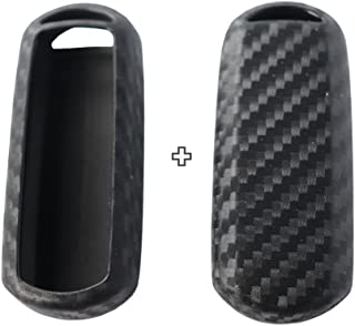 2Pack Silicone Carbon Fiber Pattern car Key case Cover Keychain for Smart Mazda MX-5 2 3 5 6 CX-3 CX-5 CX-9 Accessories fob Shell Key Bag