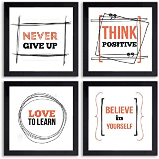 PnF® Set of 4 Motivational QUOTES-040-(28x28inch,Synthetic,Multicolour)