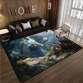 Large Area Rug Viking Heroes of Valhalla Nordic Ideal Gift for Children 5'10