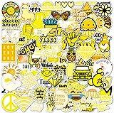 Vsco Stickers 100 Pack I Cute Yellow Stickers Waterproof 100% Vinyl Stickers I Vsco Girls Stuff, Aesthetic Stickers, Vsco Stickers for Water Bottle, Laptop Stickers, Cellphone (100 Pack, Yellow)
