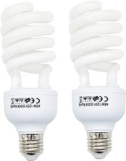 Foto&Tech 45 Watt Daylight Fluorescent Photography Spiral Light Bulb 5500K 110V White for Photography and Video Studio Lighting (2 Pack)