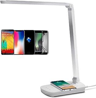 Aigostar - Lámpara de Escritorio LED, Base Para Carga Inalámbrica, Flexo LED Táctil, 3 Modos(2700K-6500K), Intensidad Regulable del 20% al 100%, 5W, Blanco.