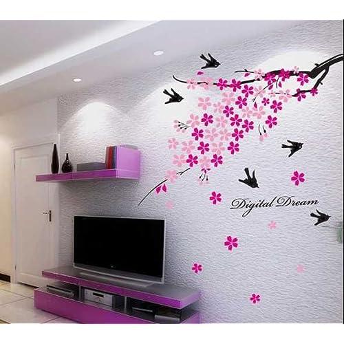 Decals Design 'Flower Branch with Birds' Wall Sticker (PVC Vinyl, 50 cm x 70 cm),Multicolour