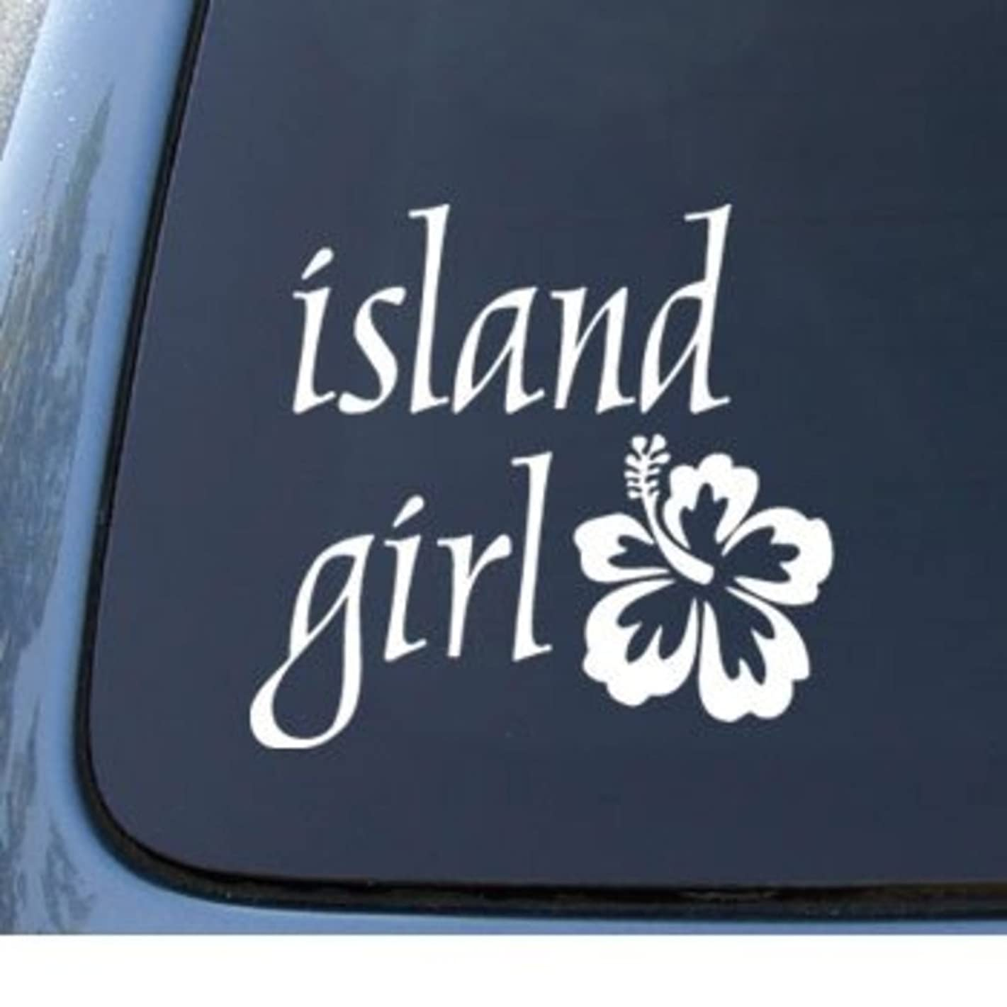 CMI543 Island Girl & Hawaii Hibiscus Flower Decal | Premium Quality White Vinyl Decal | 5.5