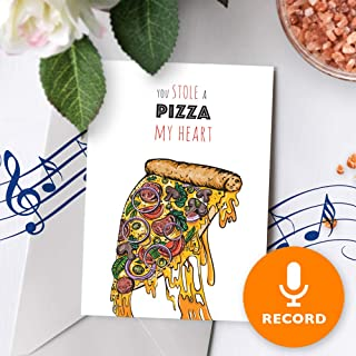 Funny Love Card With Music   Cute Valentines Day Card, Cheesy Musical Greeting Card, Happy Valentines Day, Pizza Pun Card 10270 (120 Second Recordable)