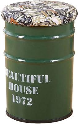 schwarz, M Urban Loft Sitztonne Vintage Sitzhocker mit Stauraum mit Holzdeckel und Griffe Aufbewahrungsbox Hocker