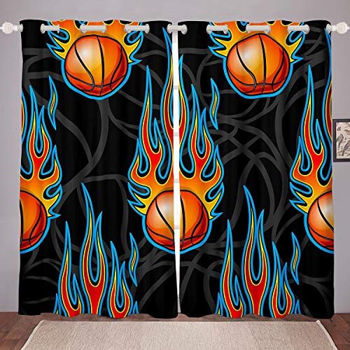 Loussiesd Boys Basketball Window Curtains for Bedroom Living Room 3D Ball Curtains Teens Burning Basketball Competitive Games Window Drapes Sports Novelty Window Treatments,W46*L72