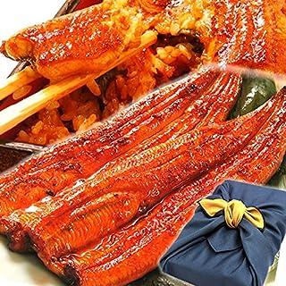 鰻の蒲焼2~3人分 風呂敷包み 国内産うなぎ (紺色) (1.シール等不要)