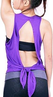 14991299a8120 Lofbaz Femme Dos Ouvert Yoga Tee Shirt Cravate arrière Faire des Exercices  Vêtements Brassière de SPOR