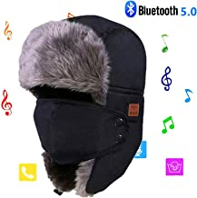 Winter Bluetooth Hats, Faux Fur Lined Trapper Bomber Hat with Wireless Bluetooth 5.0 HD Stereo Speakers & Microphone for Mens Women