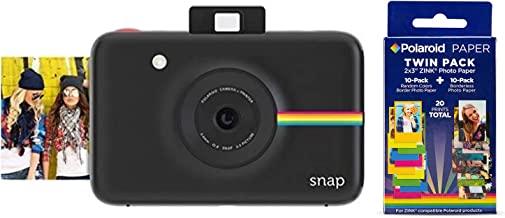 Polaroid Snap Instant Digital Camera (Black) w/ 20 Twin Pack Zink 2x3 Photo Paper