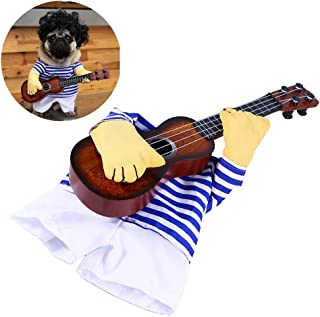 UEETEK Pet Clothes Funny Singer Puppy Costume Dog Cat Playing Guitar Fancy Costume Halloween Coslay Party Size M