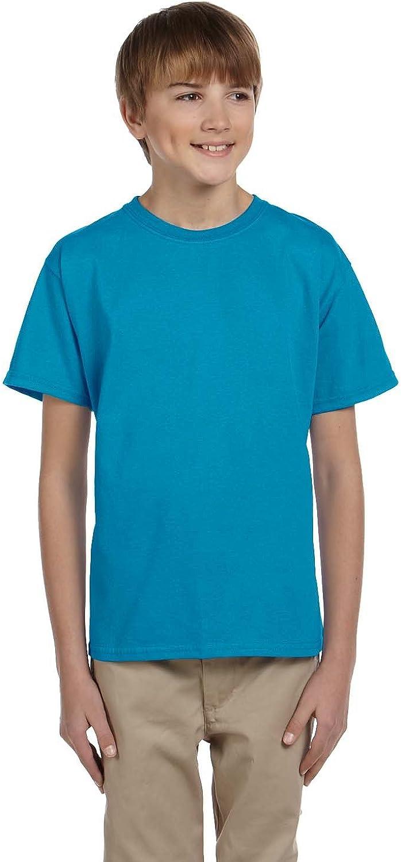 Hanes Youth 52 Oz, 50/50 EcoSmart T-Shirt - Teal - XS - (Style # 5370 - Original Label)