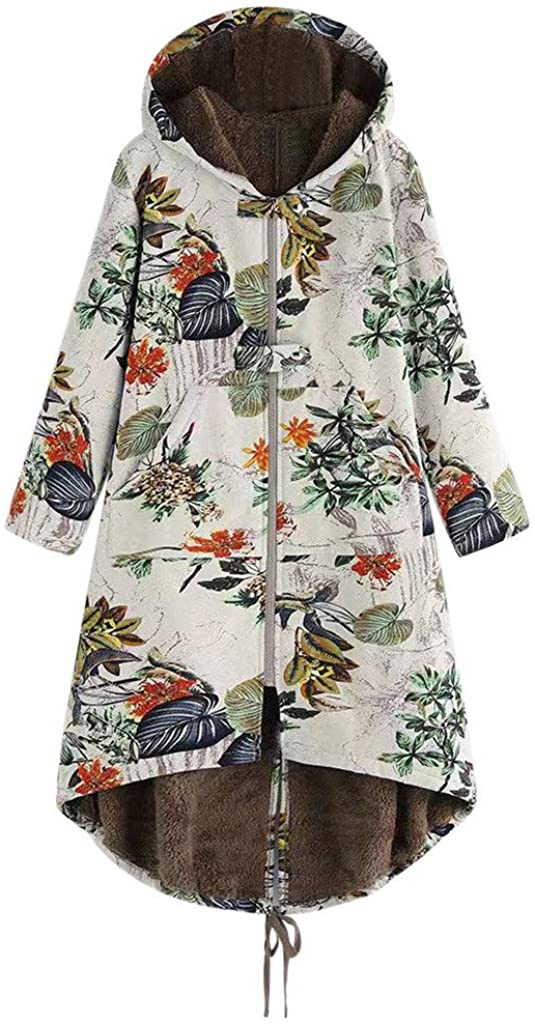 JOFOW Womens Jackets Coats Boho leaves Finally popular brand Print Flee Los Angeles Mall Floral Flowers