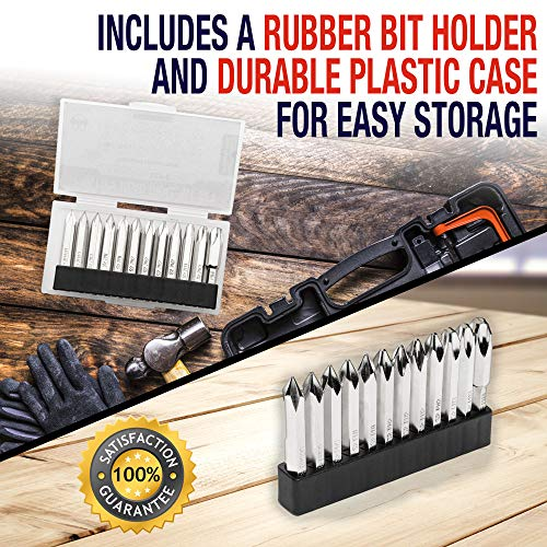 Phillips Screwdriver Drill Bit Set (PREMIUM 12pc COMPLETE SET) /w Storage Case and Bit Holder - PH #000 - PH #4 Hex Shank Magnetic Bit Set - Impact Ready - S2 Steel - Long 2in Heads for Drills