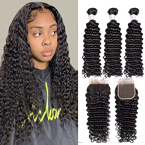 Vipbeauty Malaysian Deep Curly 3 Bundles With Closure Three Parting Unprocessed Virgin Hair Weave Extensions With 4x4 Lace Closure ( 14 16 18 with 12 Closure )