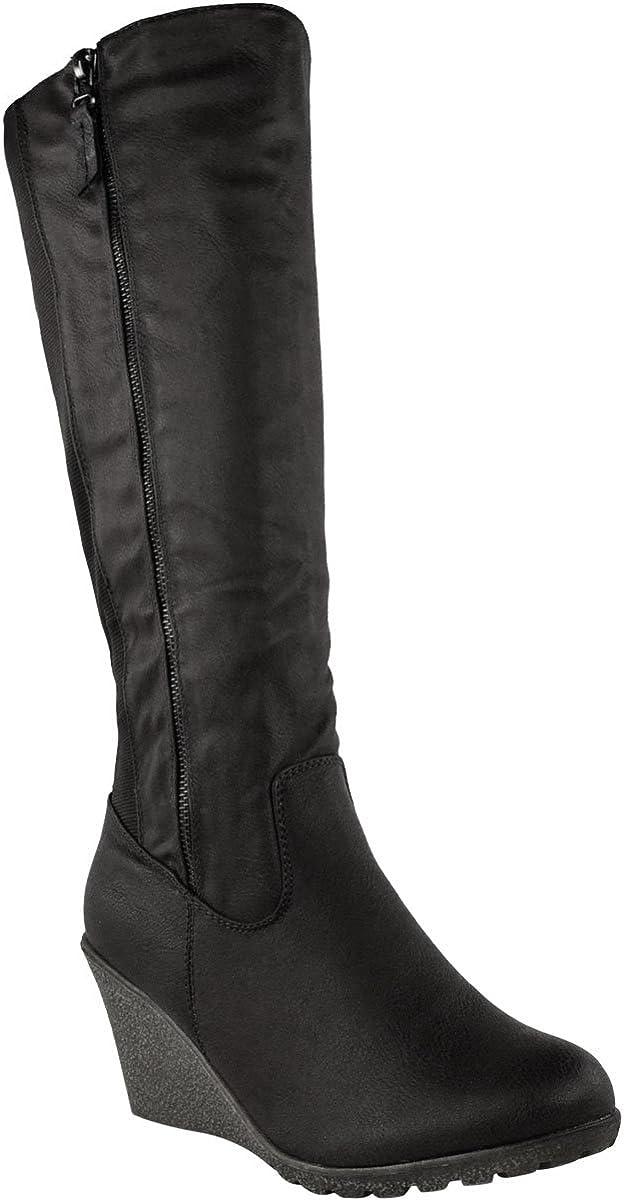 Fashion Thirsty Womens Wedge Heel Knee High Mid Calf Wide Leg Elastic Winter Biker Boots Size 7