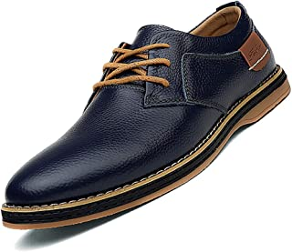 COSIDRAM Men's Oxfords Business Casual Genuine Leather Dress Shoes Fashion British Luxury Breathable Comfort Flat Lace-up Formal Shoes for Male Daily Outdoor Work Office