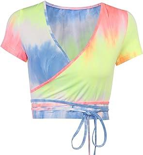 Ganghuo T-shirt court à col en V profond à manches courtes et bretelles à la mode, confortable et doux
