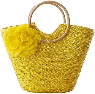 GSERA Flower Beach Bag Weizenmast Weave Damenhandtasche Bohemian Lady Strohsäcke High Capacity Travel Totes